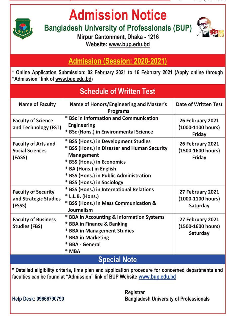 BUP Admission Circular 2020-21